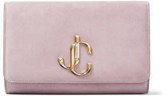 Jimmy Choo VARENNE CLUTCH Mauve Suede Clutch Bag with JC logo