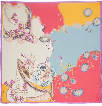 Etro Floral-print Silk-chiffon Scarf - Red
