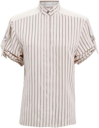 Victoria Beckham Victoria, Gathered Sleeve Striped Silk Top