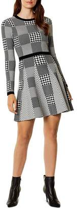 Karen Millen Check-Patterned Knit Fit-and-Flare Dress