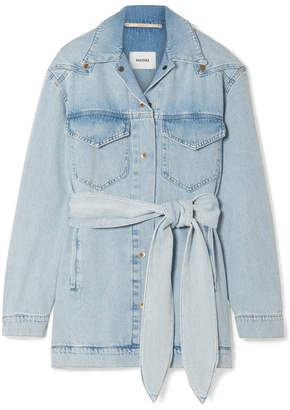 Nanushka - Oversized Belted Denim Jacket - Light denim