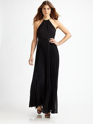 Laundry by Shelli Segal Pleated Necklace Gown