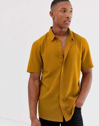 1b55e56aa2 Asos Design DESIGN regular fit textured stripe shirt in mustard with revere  collar