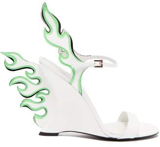 Prada Flame Patent Leather Sandals - Womens - White