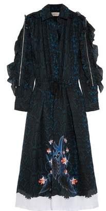 Preen by Thornton Bregazzi Abigail Ruffle-Trimmed Snake-Print Silk-Chiffon Midi Dress
