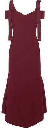 Rebecca Vallance Cold-Shoulder Asymmetric Crepe Midi Dress