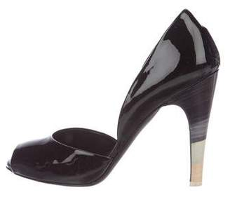 Salvatore Ferragamo Peep-Toe Patent Leather Pumps