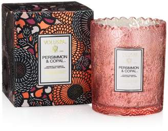 Voluspa Japonica Persimmon & Copal Embossed Glass Scalloped Edge Candle