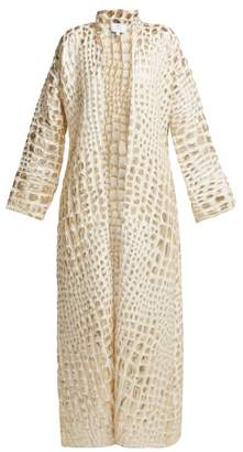 Rebecca De Ravenel - Single Breasted Alligator Print Cloque Coat - Womens - Ivory