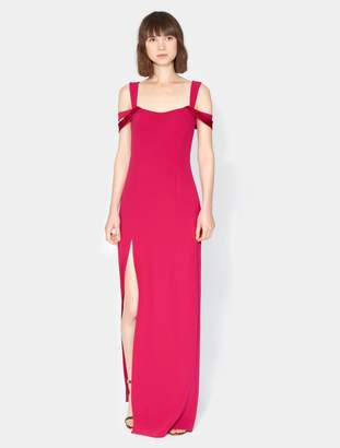 Halston Cold Shoulder Fitted Crepe Gown