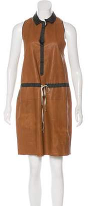 Hache Leather Knee-Length Dress