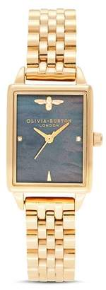 Olivia Burton Bee Hive Black Mother-of-Pearl Link Bracelet Watch, 20.5mm x 25.5mm