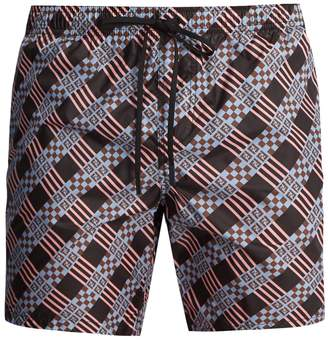 Fendi Logo checked-print swim shorts