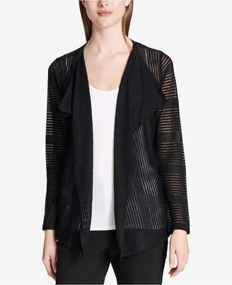 Calvin Klein Sheer Open-Front Cardigan