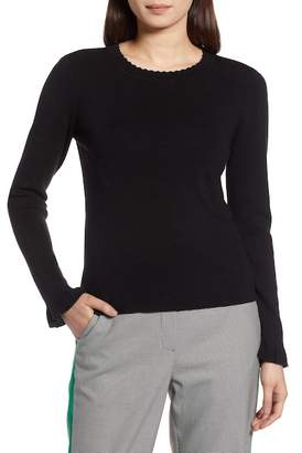 Halogen Scallop Trim Sweater (Regular & Petite)