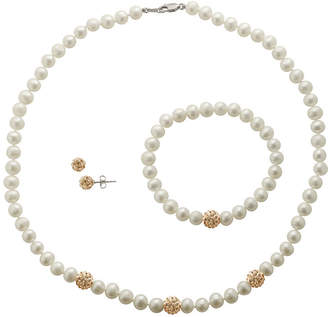JCPenney FINE JEWELRY Cultured Freshwater Champagne Pearl & Crystal 3-pc. Jewelry Set