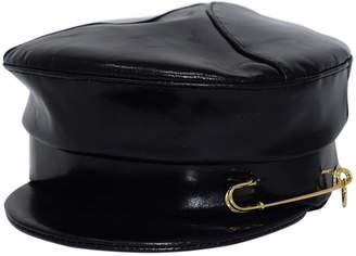 Gigi Burris Georgie Leather Newsboy Hat w/ Safety Pin