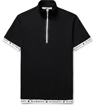 Givenchy Slim-Fit Stretch-Cotton Piqué Half-Zip Polo Shirt $685 thestylecure.com