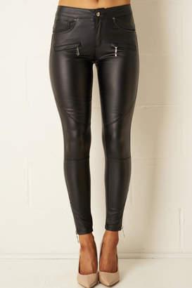 Frontrow Black-Wax Zip Trousers