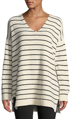 Eileen Fisher Chenille Striped Tunic Sweater, Petite