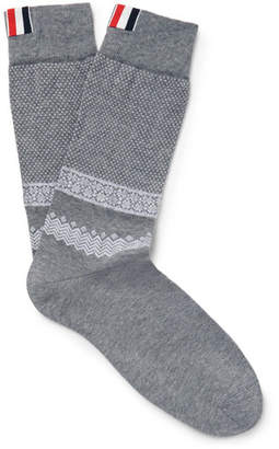 Thom Browne Jacquard-Knit Cotton And Nylon-Blend Socks