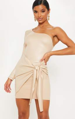 PrettyLittleThing Nude Matte PU One Shoulder Wrap Dress