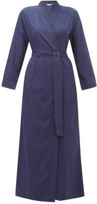 Derek Rose Balmoral Belted Cotton Flannel Robe - Womens - Navy