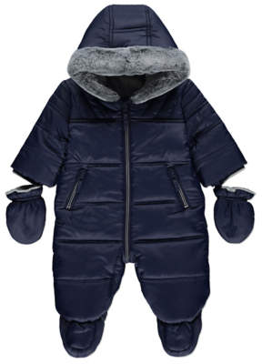 George Navy Blue Padded Snowsuit with Mittens