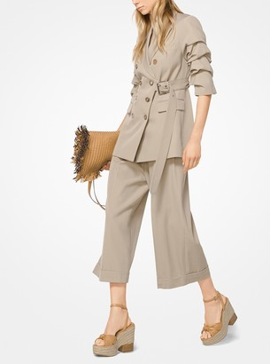 Michael Kors Wool and Cotton Gabardine Wrap Jacket