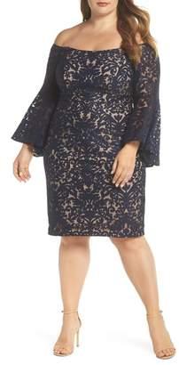 Xscape Evenings Bell Sleeve Off the Shoulder Burnout Lace Dress (Plus Size)