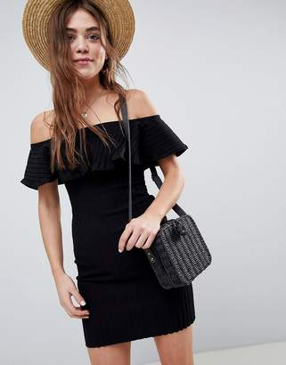 Asos Off Shoulder Dress In Chunky Rib With Frill