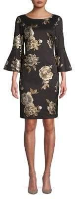 Eliza J Foil Floral Bell-Sleeve Sheath Dress