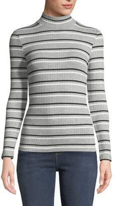 Frame Turtleneck 70's Inspired Striped Ribbed Sweater