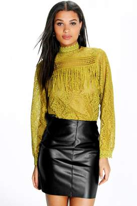 boohoo High Neck Lace Tassel Trim Blouse