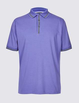 Marks and Spencer Cotton Rich Striped Polo Shirt