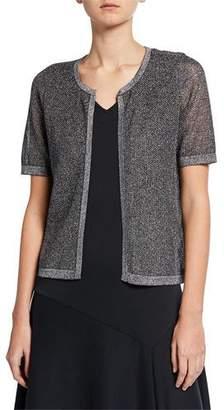 9093afe069d Joan Vass Plus Size Metallic Mesh Short-Sleeve Open-Front Cardigan