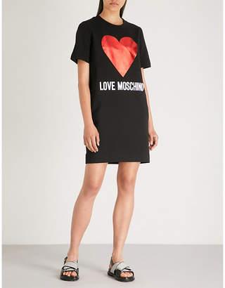 Love Moschino Metallic heart stretch-cotton T-shirt dress