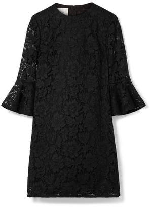 Valentino Donna Cotton-blend Corded Lace Mini Dress - Black