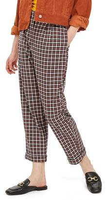 Topshop Tapered Checkered Trousers