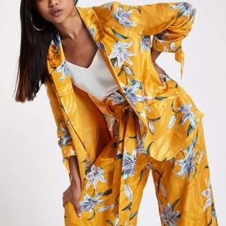 River Island Petite yellow floral rouche sleeve blazer
