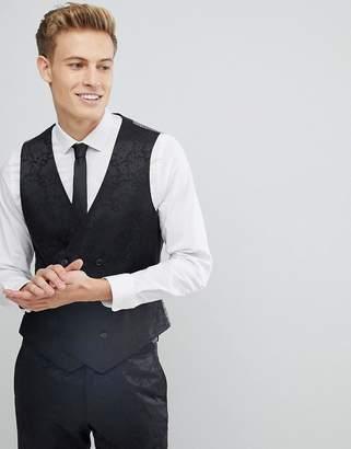 Burton Menswear Skinny Suit Waistcoat In Floral Glitter