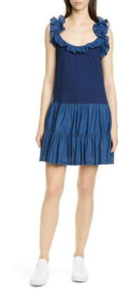 Rebecca Taylor Ruffle Detail Sleeveless Mix Media Cotton Dress