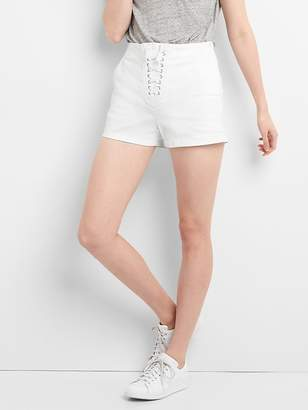 """Gap High Rise 3"""" Denim Shorts with Lace-Up Detail"""