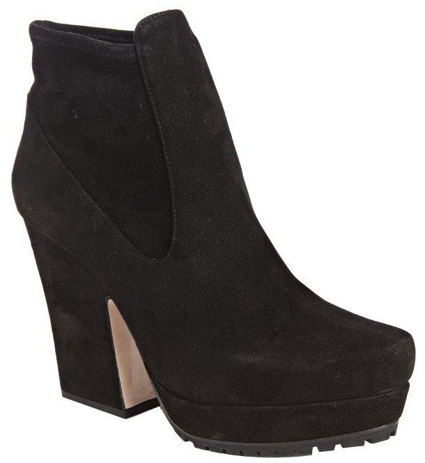 Miu black suede pointed toe platform ankle booties
