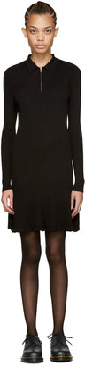 McQ Alexander Mcqueen Black Ribbed Wool Dress $430 thestylecure.com