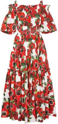 Dolce & Gabbana floral-print off-shoulder cotton dress