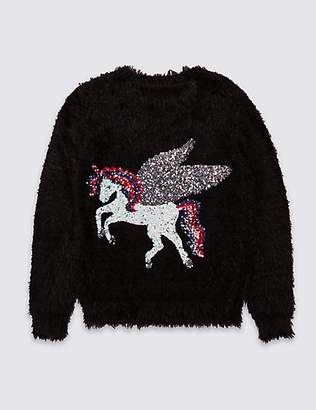 Marks and Spencer Sequin Unicorn Jumper (3-16 Years)