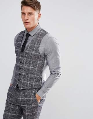 Moss Bros Skinny Waistcoat In Fleck Check