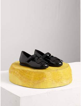 Burberry Bow Detail Patent Leather Ballerinas , Size: 25, Black