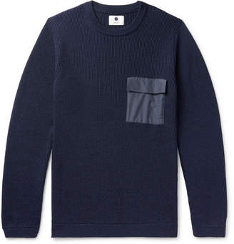 NN07 Phil Slim-Fit Ripstop-Trimmed Ribbed Merino Wool-Blend Sweater